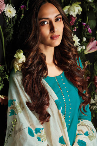 Turquoise Cotton Palazzo Suit
