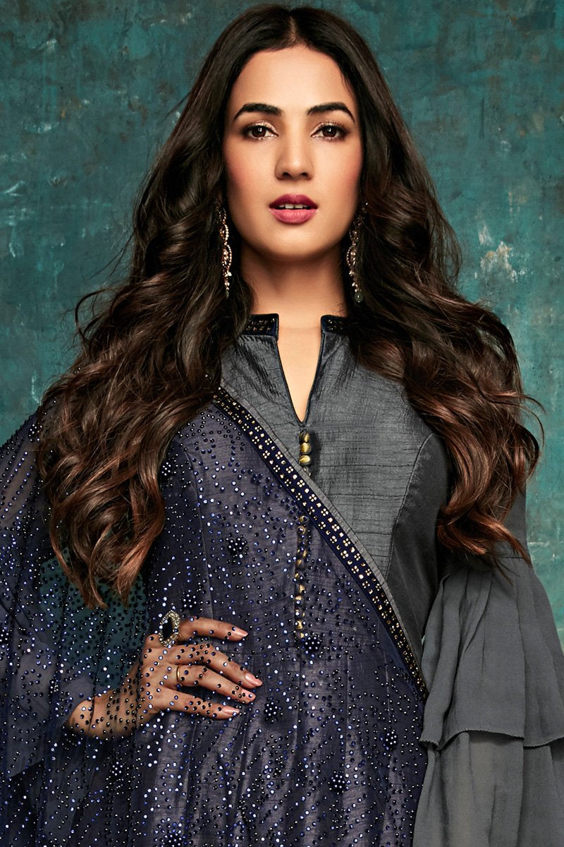 Dark Gray Pure Silk Anarkali Suit