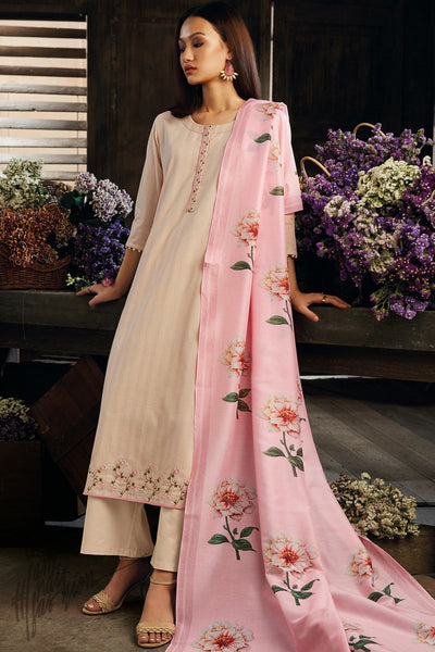 Cream and Pink Cotton Straight Palazzo Suit