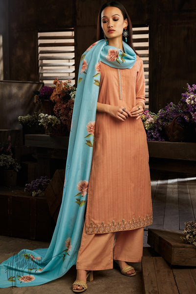 Standstone and Sky Blue Cotton Straight Palazzo Suit