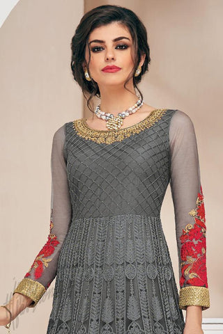 Indi Fashion Gray and Red Net Party Wear Floor Length Suit