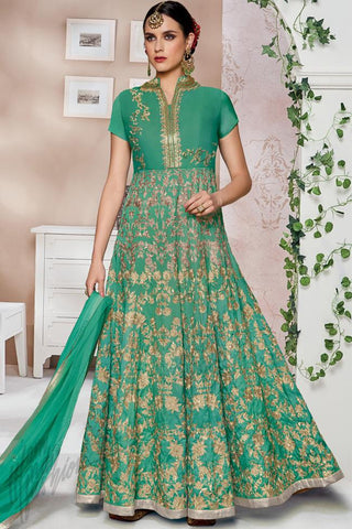 Indi Fashion Sea Green Silk Party Wear Floor Length Suit