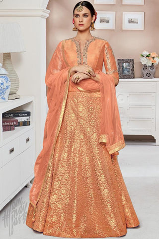 Indi Fashion Peach Silk Party Wear Floor Lehenga Choli Set