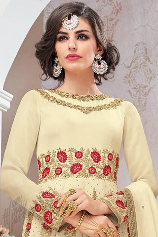 Indi Fashion Cream Georgette Party Wear Floor Length Suit