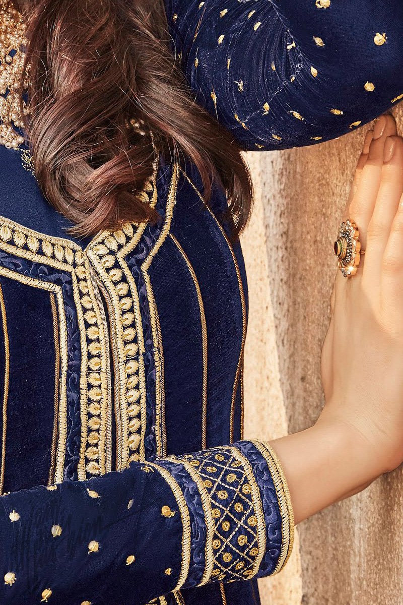 Indi Fashion Royal Blue Georgette and Velvet Party Wear Anarkali Suit