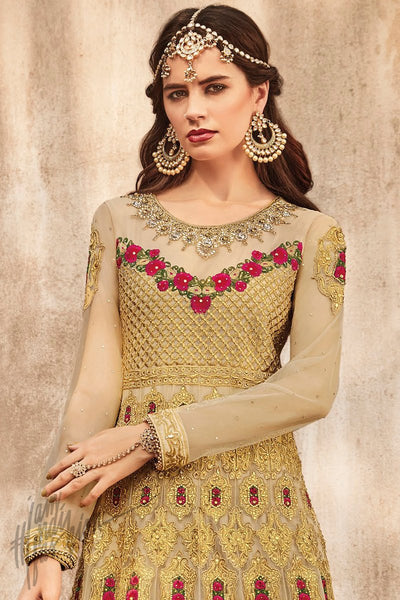 Indi Fashion Beige and Gold Premium Net Party Wear Anarkali Suit