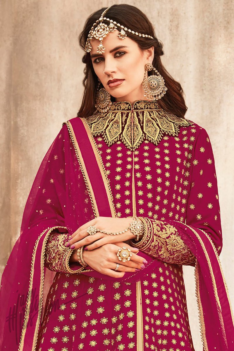 Indi Fashion Magenta and Beige Georgette and Velvet Long Jacket Style Suit