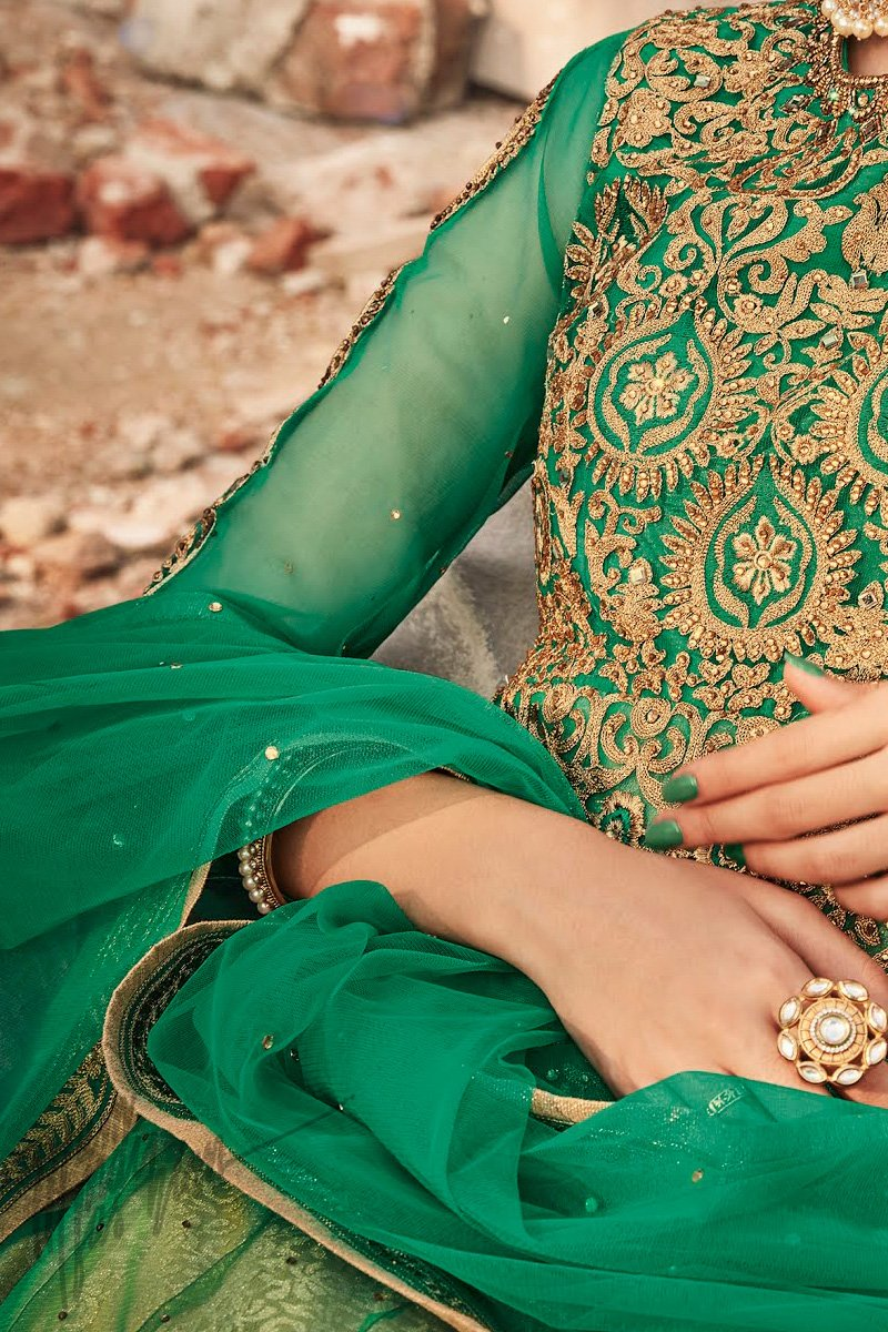 Indi Fashion Green and Gold Premium Net Party Wear Anarkali Suit