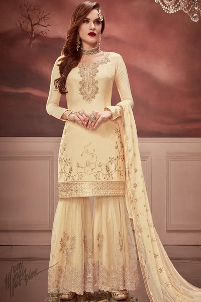 Cream Russian Silk Sharara Suit