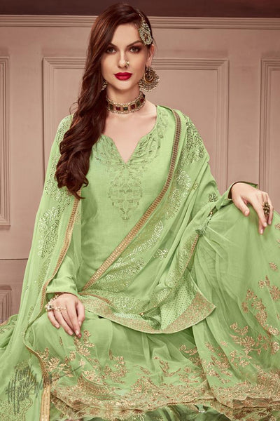 Green Russian Silk Sharara Suit