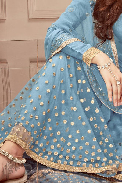 Blue Russian Silk Sharara Suit