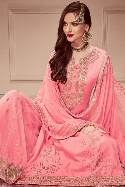 Pink Russian Silk Sharara Suit