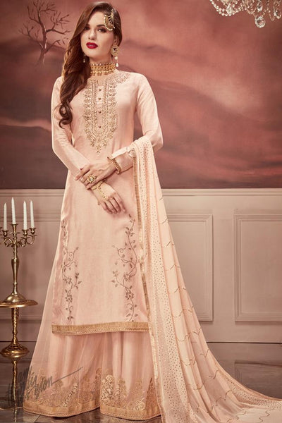 Light Peach Russian Silk Sharara Suit