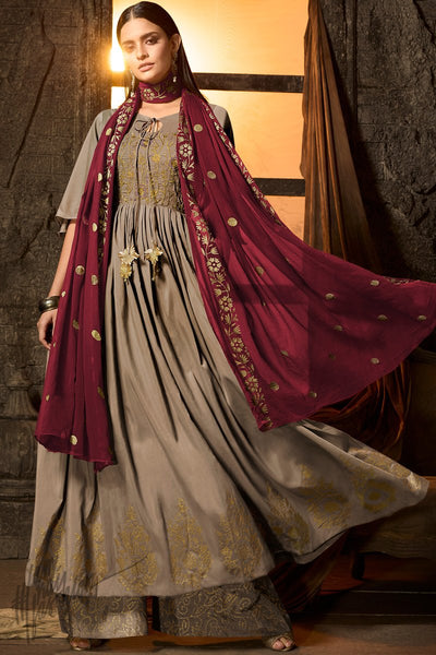 Mocha Brown and Wine Muslin Palazzo Anarkali Suit