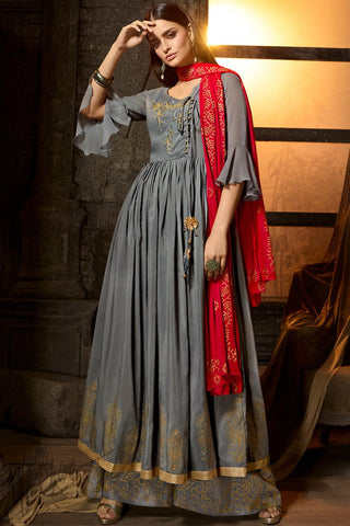 Steel Gray and Red Muslin Palazzo Anarkali Suit