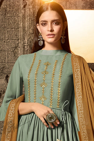 Sage Green and Brown Muslin Palazzo Anarkali Suit