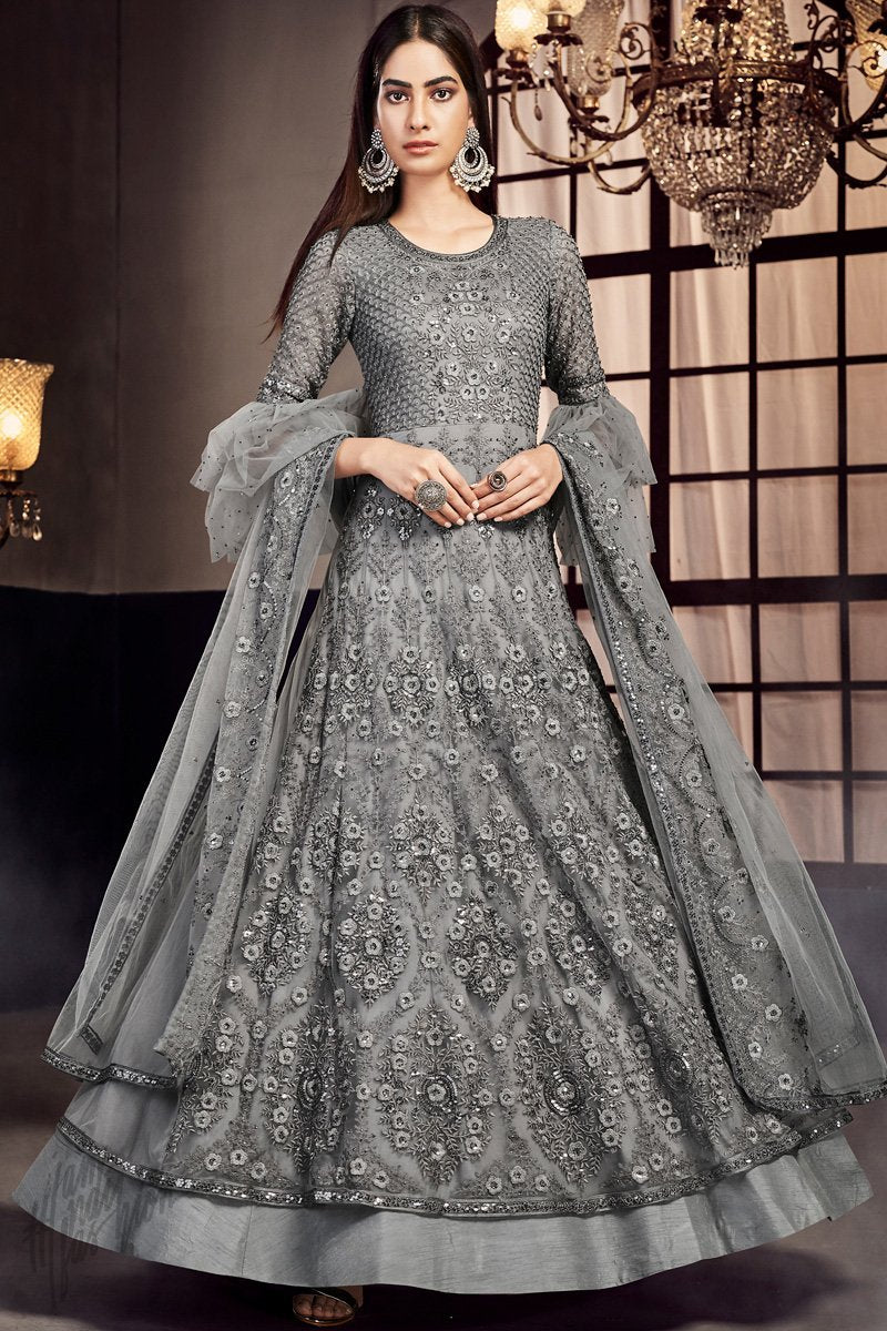 Dark Gray Net Anarkali Suit