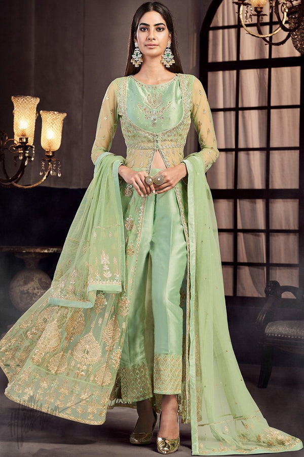 Pista Green Net and Silk Dress with Pants Crop Top and Cape