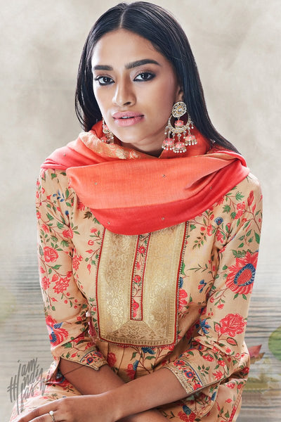 Peach and Red Cotton Silk Palaazo Suit
