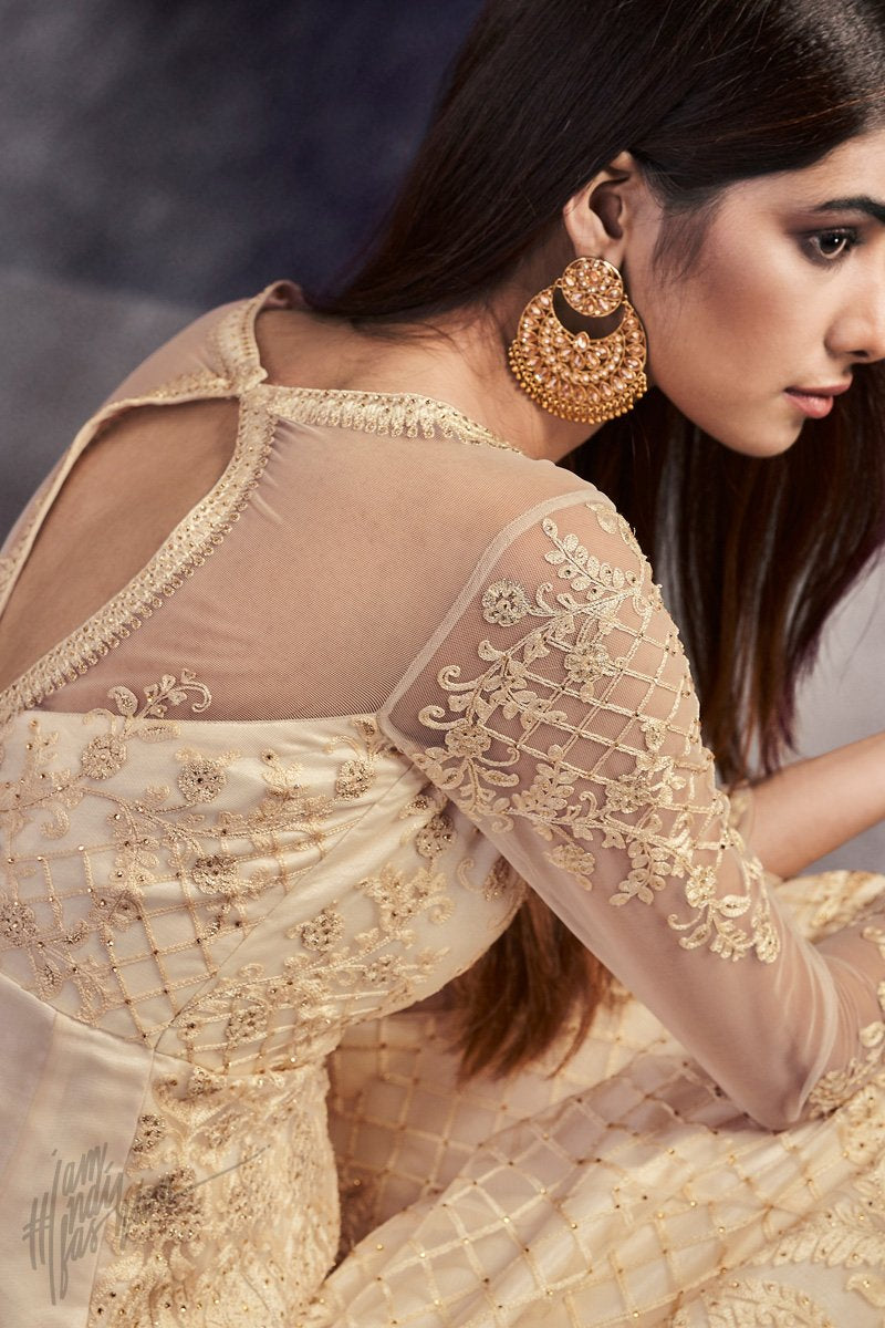 Cream Net Anarkali Suit