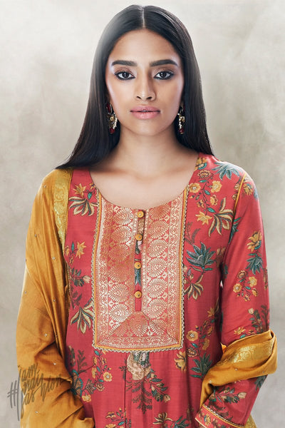 Brick Red and Mustard Cotton Silk Palaazo Suit