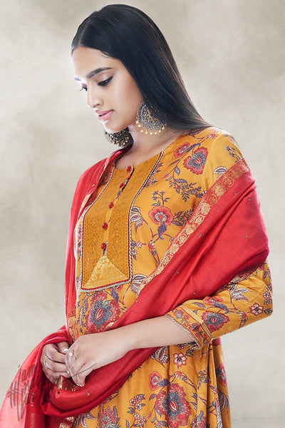 Honey Yellow and Red Cotton Silk Palaazo Suit
