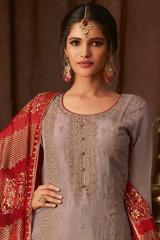 Mauve and Red Upada Silk Straight Suit