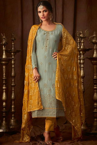 Pistchio and Honey Upada Silk Straight Suit