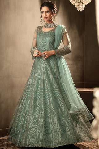 Light Teal Premium Net Anarkali Suit