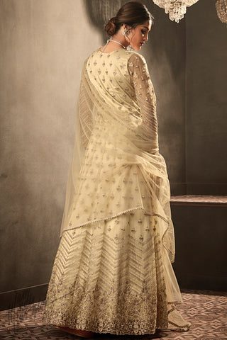 Butter Cream Premium Net Anarkali Suit
