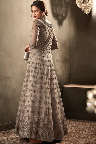 Fossil Gray Premium Net Anarkali Suit