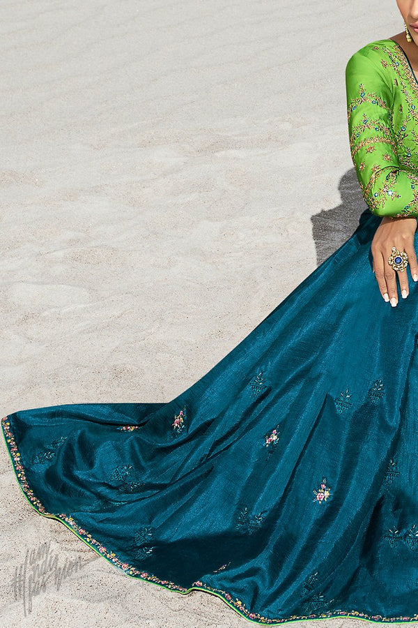 Teal Blue and Parrot Green Dola Silk Saree