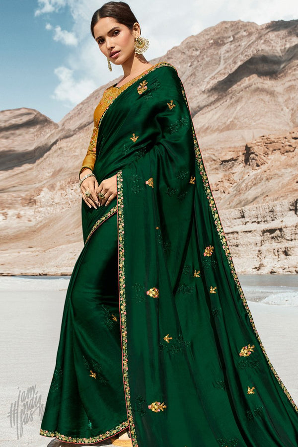 Dark Green and Mustard Dola Silk Saree