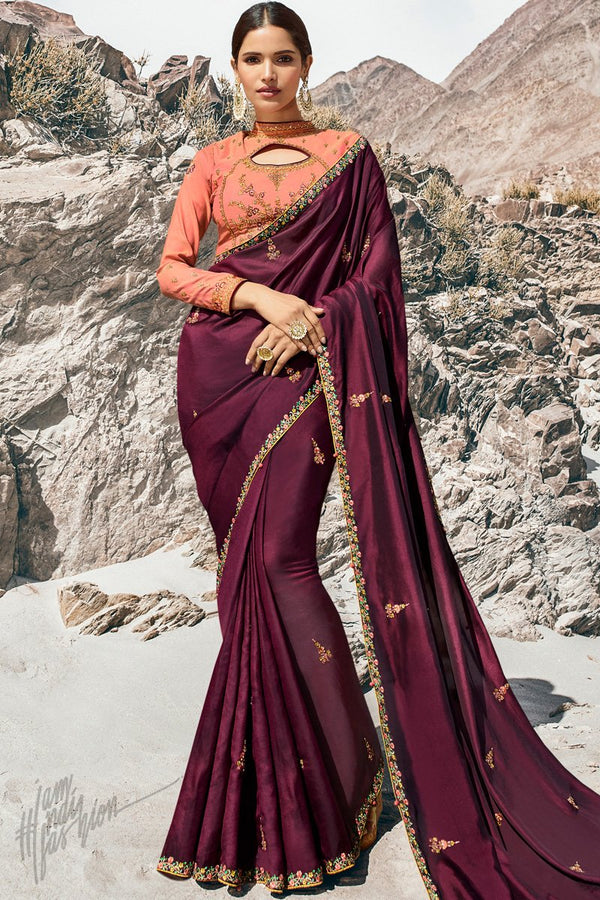 Wine and Pink Dola Silk Saree