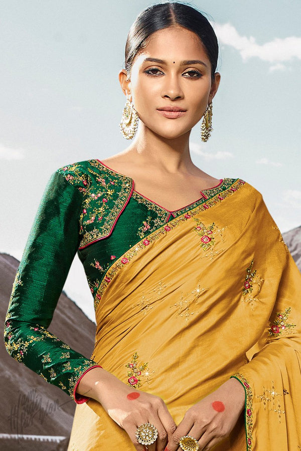 Mustard and Dark Green Dola Silk Saree