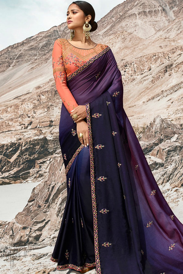 Purple Navy Blue Ombre and Peach Dola Silk Saree