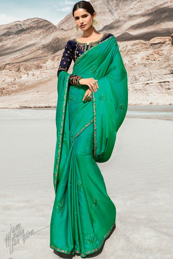 Sea Green and Navy Blue Dola Silk Saree