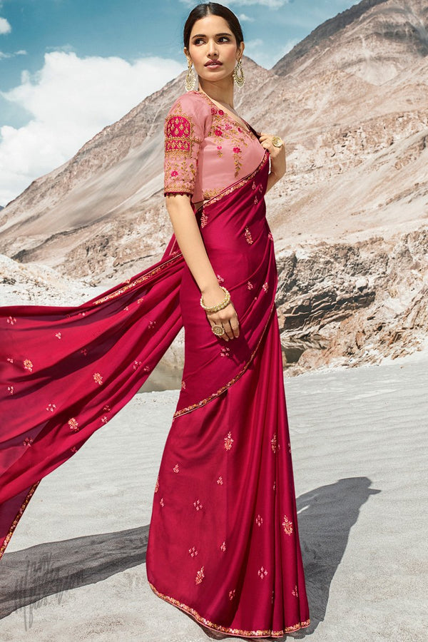 Ruby and Baby Pink Dola Silk Saree