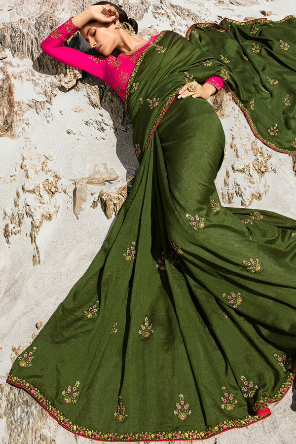 Olive Green and Rani Pink Dola Silk Saree