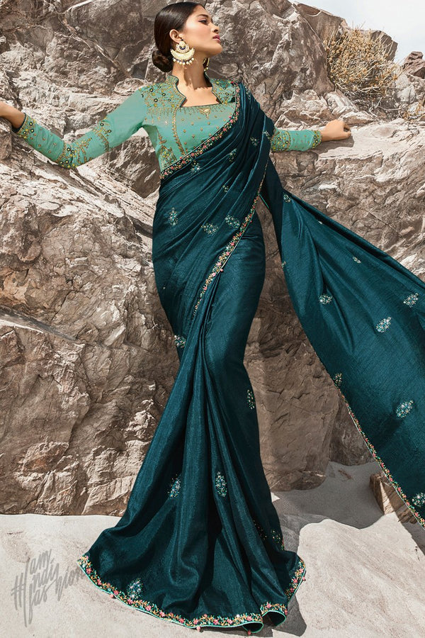 Teal Blue and Light Rama Green Dola Silk Saree