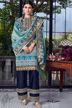 Royal and Navy Blue Lakhnavi Silk Straight Palazzo Suit