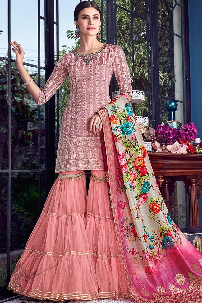 Mauve and Pink Lakhnavi Silk Sharara Suit