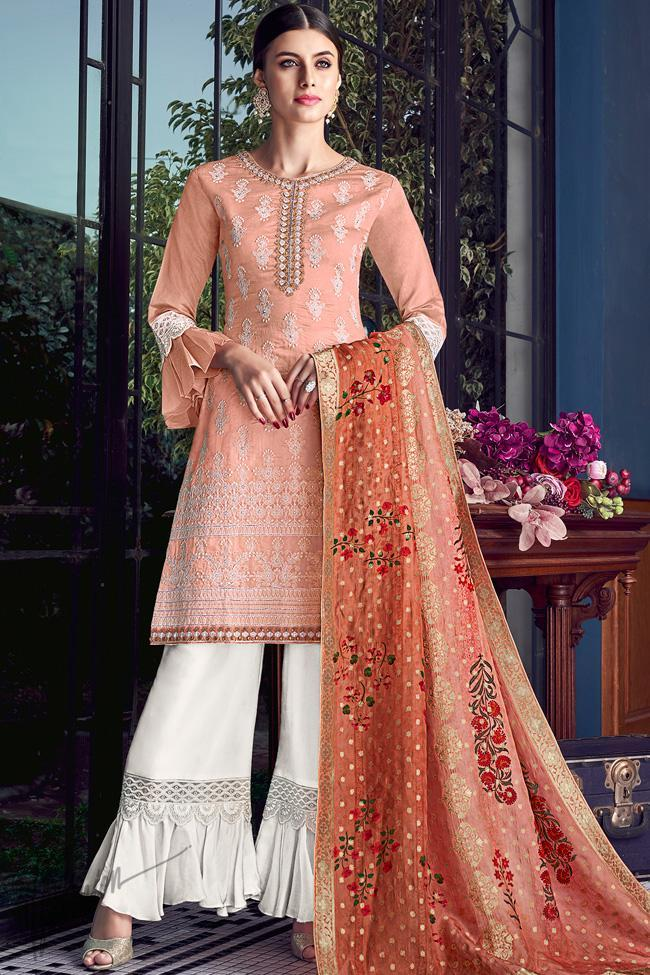 Peach and Off White Lakhnavi Silk Palazzo Suit