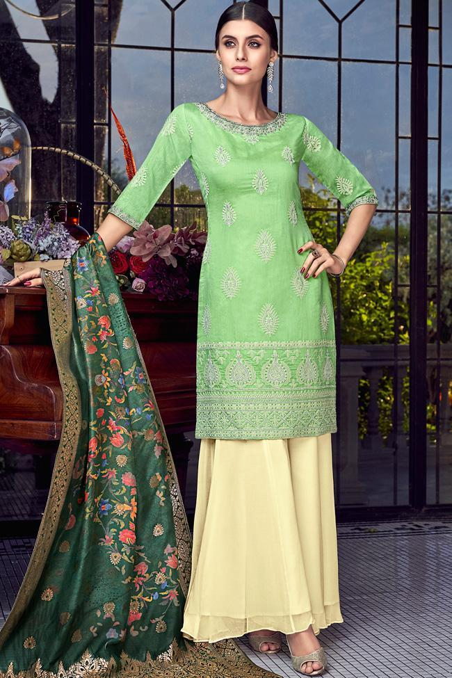 Mint Green and Cream Lakhnavi Silk Palazzo Suit