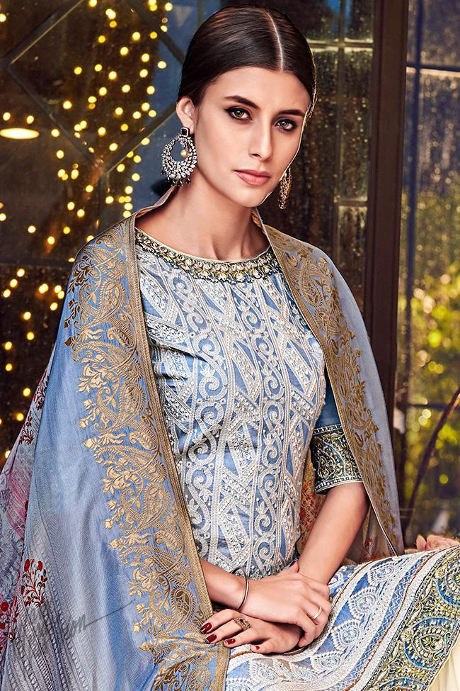 Slate Blue and Off White Lakhnavi Silk Sharara Suit