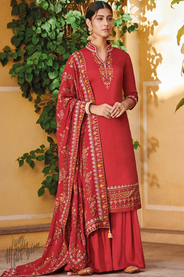 Red Ora Silk Palazzo Suit