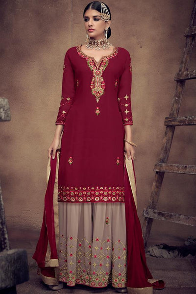 Maroon and Light Mauve Georgette Palazzo Suit
