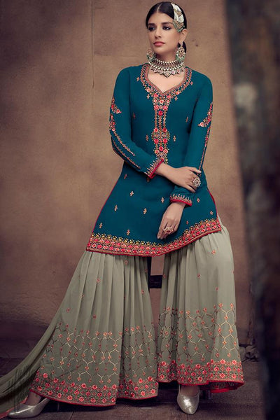 Royal Blue and Sage Green Georgette Palazzo Suit