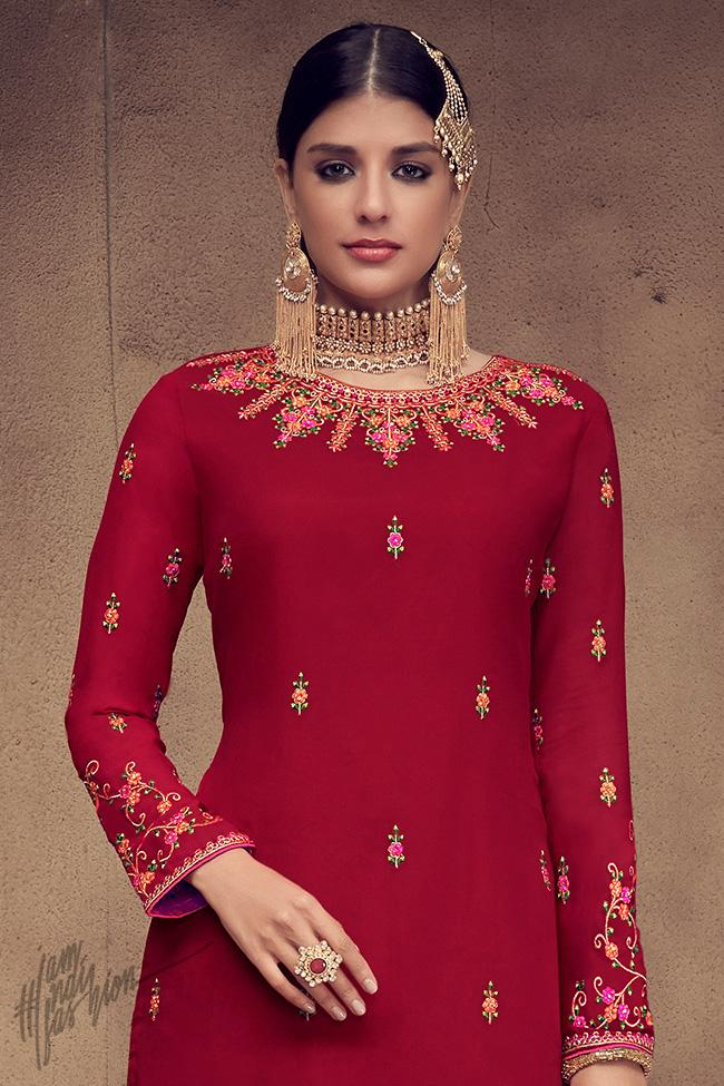 Red and Beige Georgette Palazzo Suit