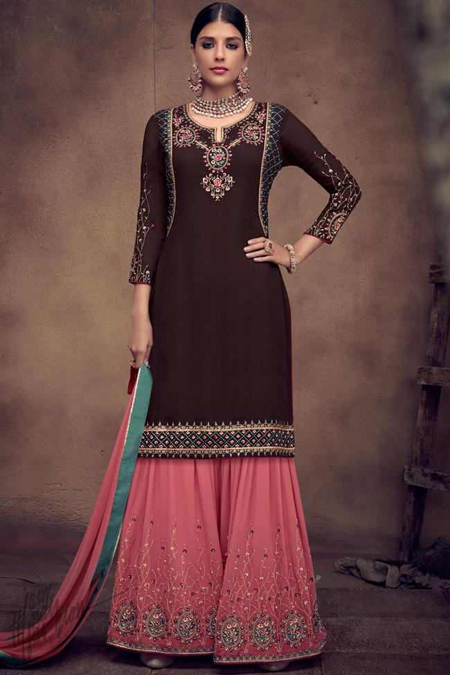 Dark Brown and Pink Georgette Palazzo Suit